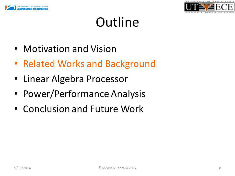 Outline Motivation and Vision Related Works and Background Linear Algebra Processor Power/Performance Analysis Conclusion and Future Work 9/30/20148©A