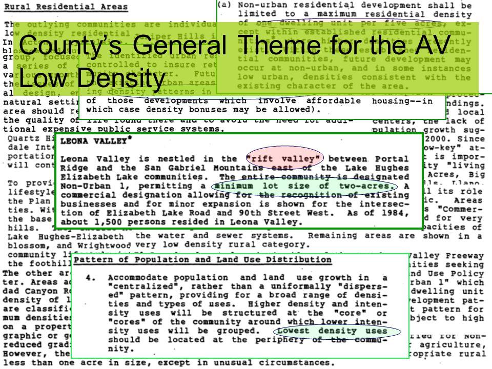 County's General Theme for the AV Low Density