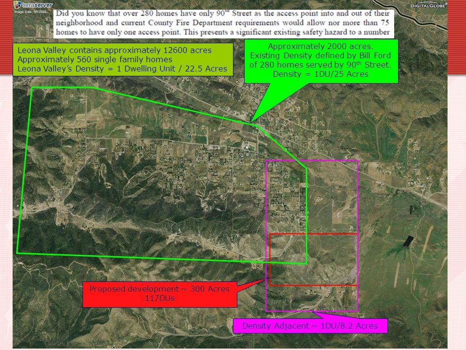 Proposed development ~ 300 Acres 117DUs Density Adjacent ~ 1DU/8.2 Acres Approximately 2000 acres.