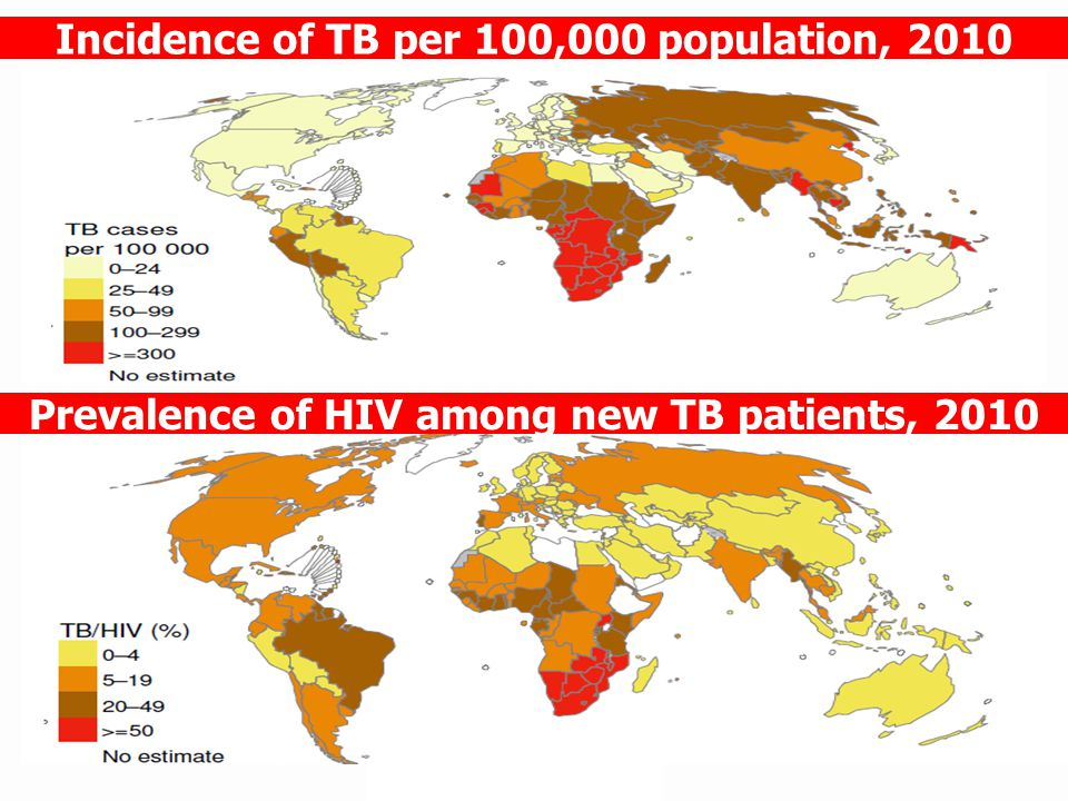 Incidence of TB per 100,000 population, 2010 Prevalence of HIV among new TB patients, 2010