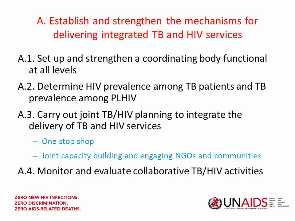 A. Establish and strengthen the mechanisms for delivering integrated TB and HIV services A.1.
