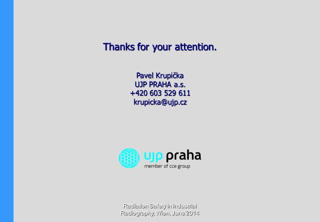 Radiation Safety in Industrial Radiography, Wien, June 2014 Pavel Krupička UJP PRAHA a.s. +420 603 529 611 krupicka@ujp.cz Thanks for your attention.