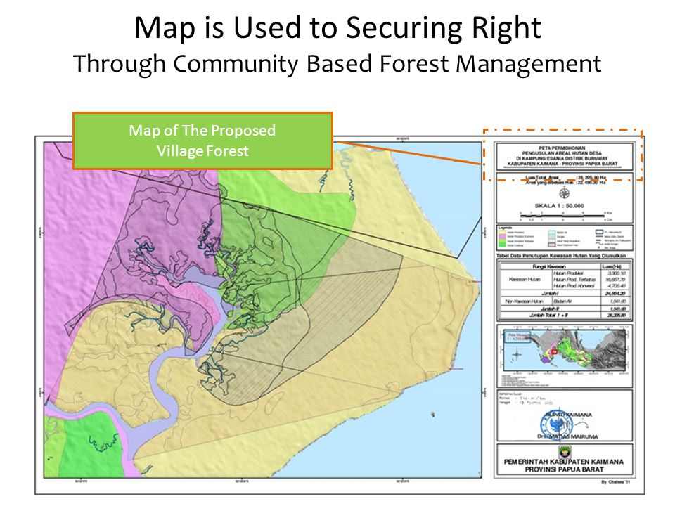 Map is Used to Securing Right Through Community Based Forest Management Map of The Proposed Village Forest