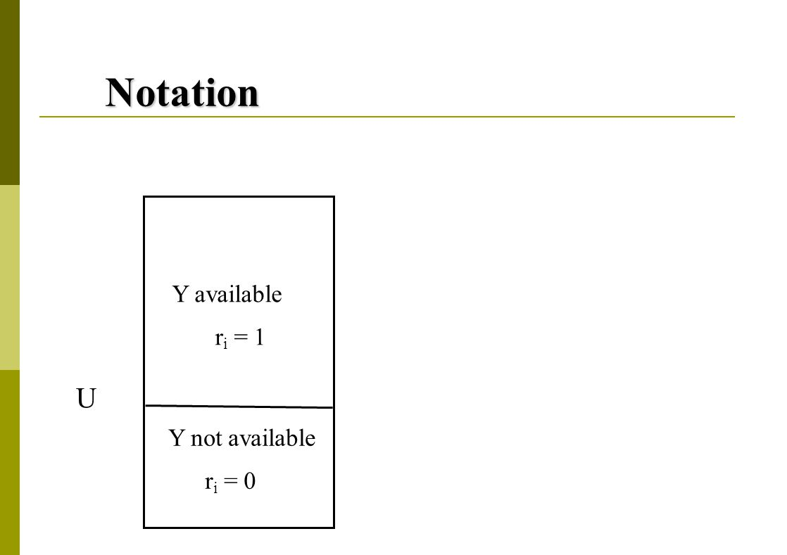 Notation Y available r i = 1 Y not available r i = 0 U