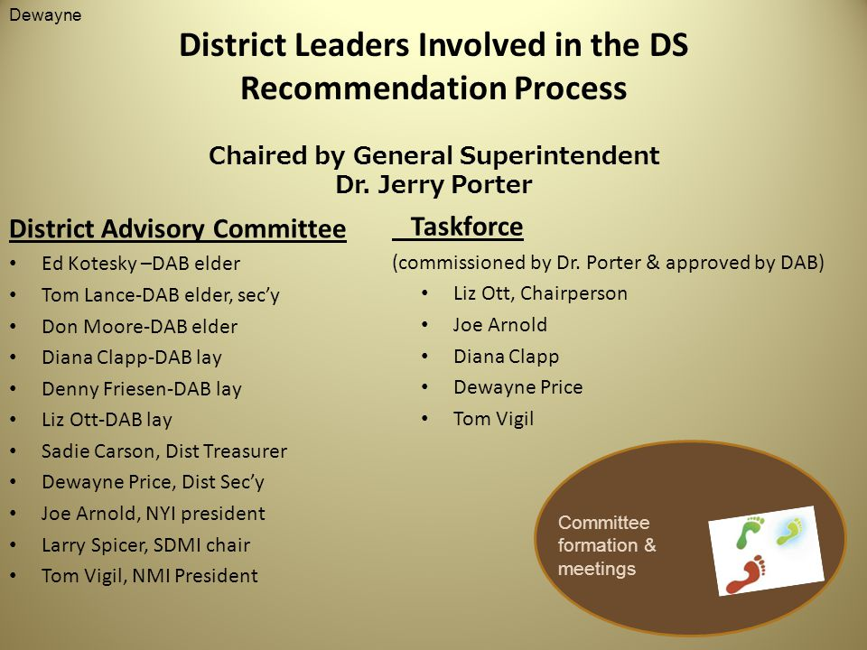 District Leaders Involved in the DS Recommendation Process Chaired by General Superintendent Dr.