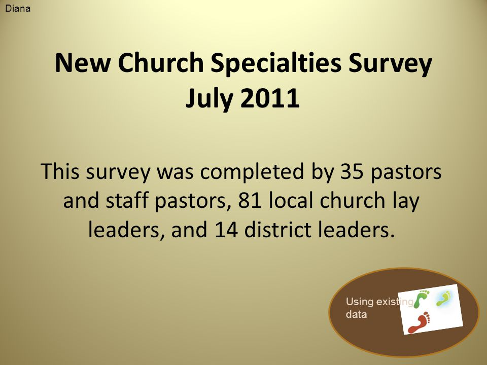 New Church Specialties Survey July 2011 This survey was completed by 35 pastors and staff pastors, 81 local church lay leaders, and 14 district leaders.