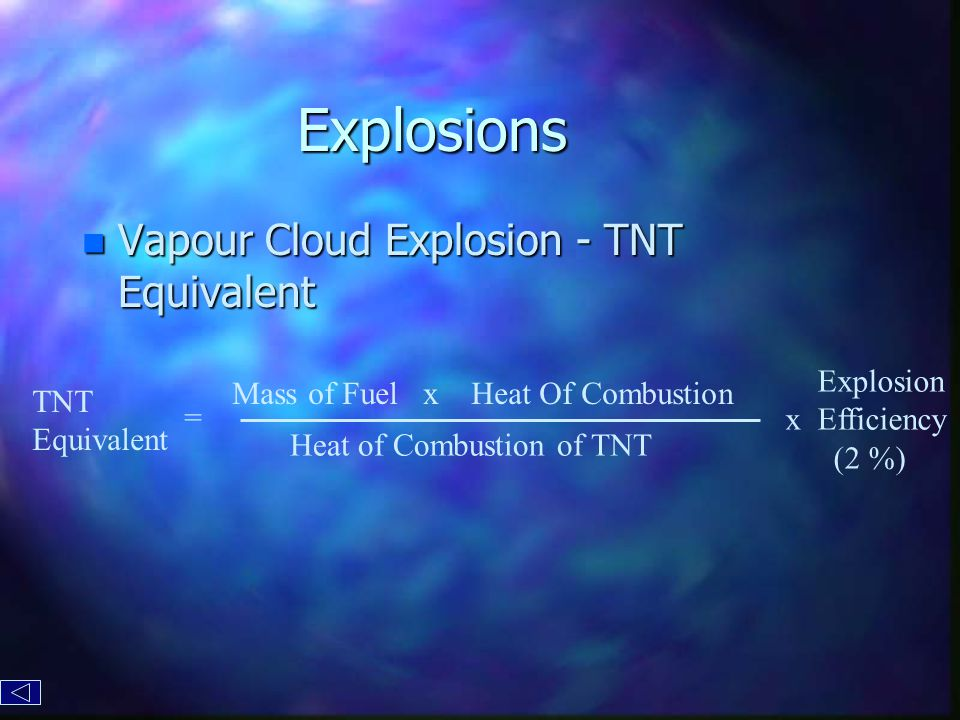 Explosions n Vapour Cloud Explosion - TNT Equivalent Mass of Fuel x Heat Of Combustion Heat of Combustion of TNT TNT Equivalent = Explosion x Efficiency (2 %)