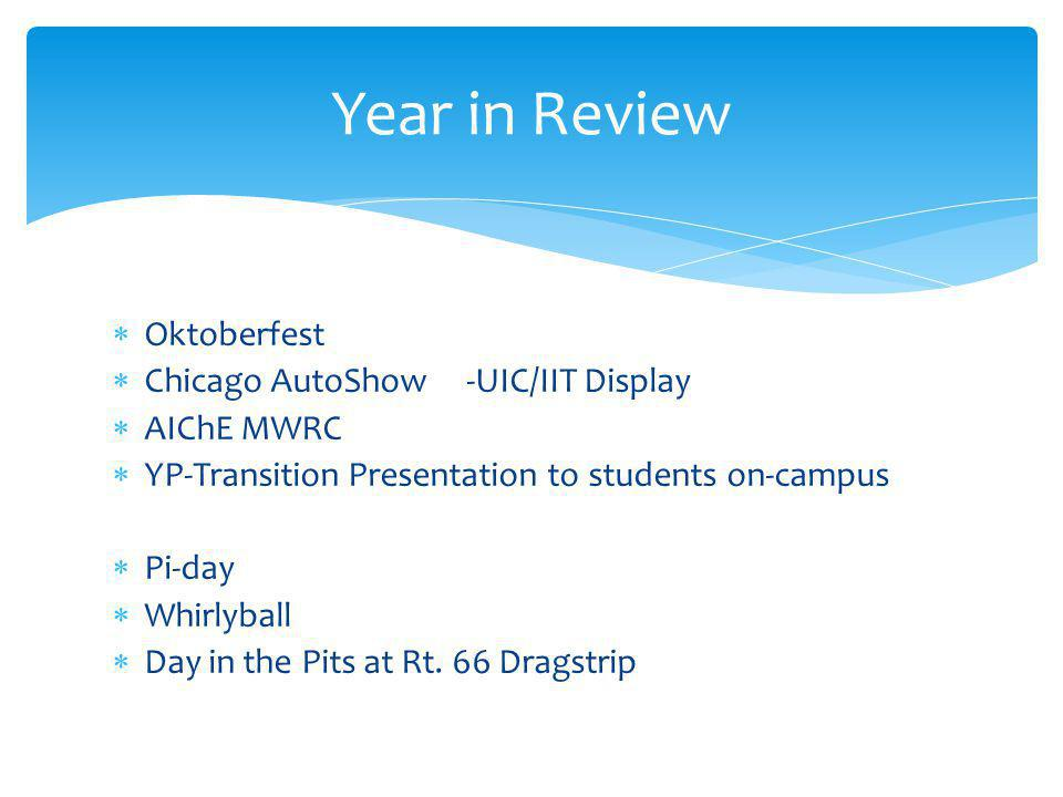  Oktoberfest  Chicago AutoShow -UIC/IIT Display  AIChE MWRC  YP-Transition Presentation to students on-campus  Pi-day  Whirlyball  Day in the Pits at Rt.
