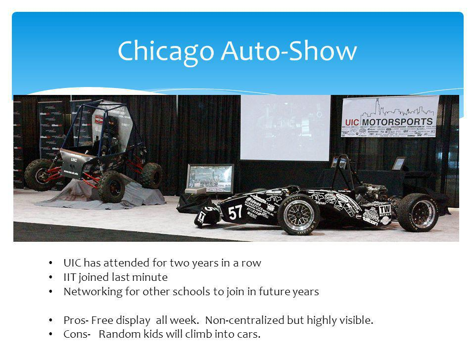 Chicago Auto-Show UIC has attended for two years in a row IIT joined last minute Networking for other schools to join in future years Pros- Free display all week.