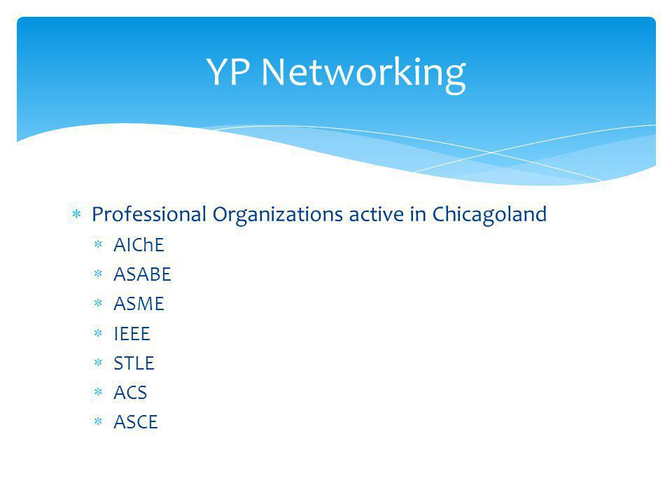  Professional Organizations active in Chicagoland  AIChE  ASABE  ASME  IEEE  STLE  ACS  ASCE YP Networking