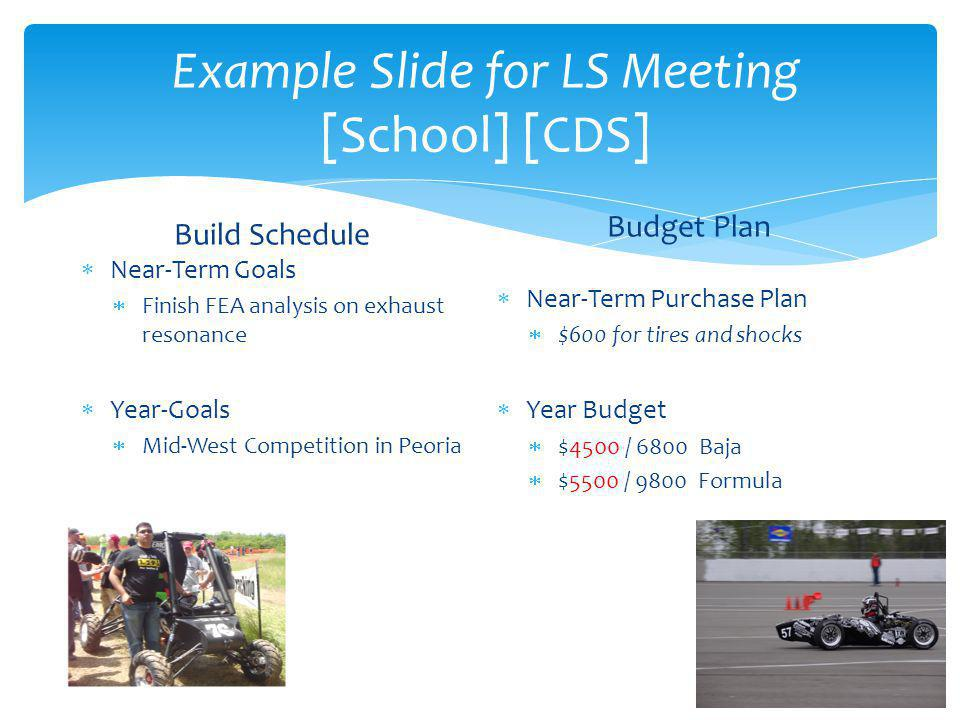 Example Slide for LS Meeting [School] [CDS] Build Schedule  Near-Term Goals  Finish FEA analysis on exhaust resonance  Year-Goals  Mid-West Competition in Peoria Budget Plan  Near-Term Purchase Plan  $600 for tires and shocks  Year Budget  $4500 / 6800 Baja  $5500 / 9800 Formula