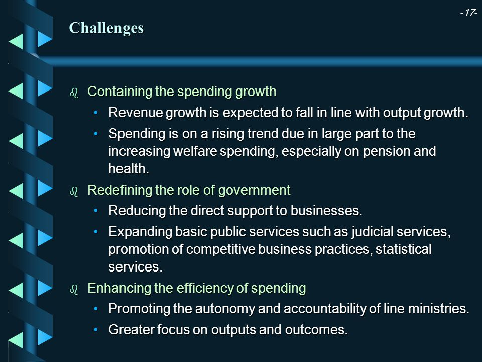 -17- b Containing the spending growth Revenue growth is expected to fall in line with output growth.Revenue growth is expected to fall in line with output growth.