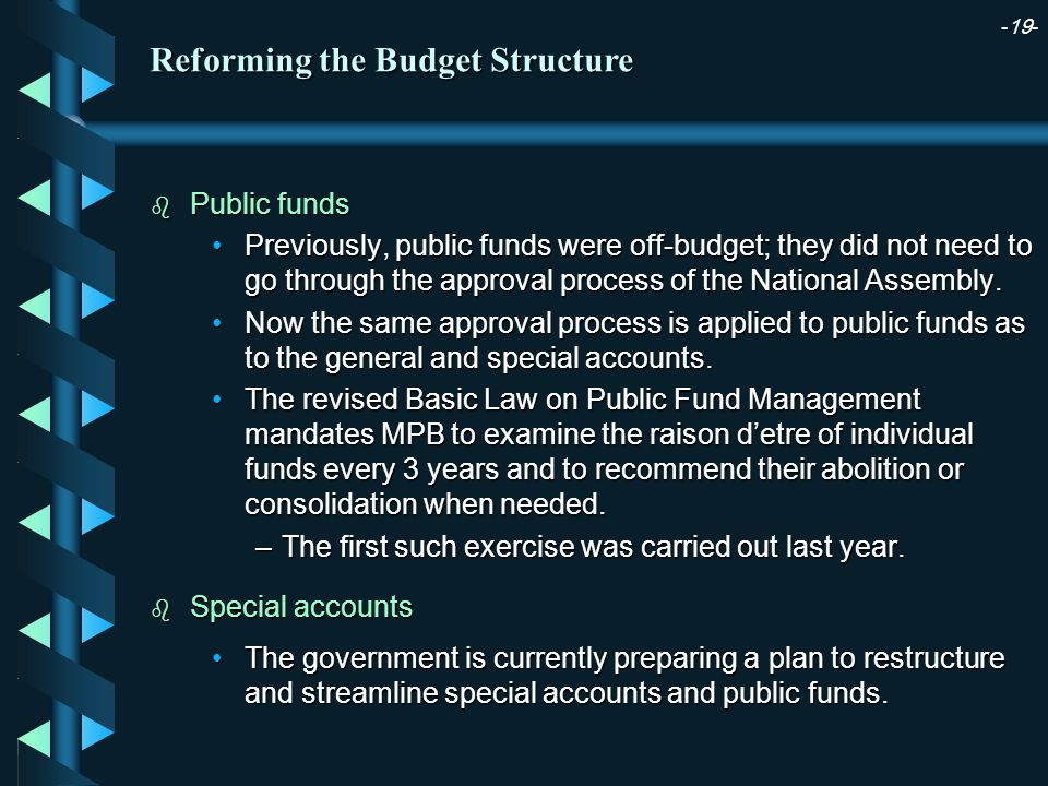 -19- b Public funds Previously, public funds were off-budget; they did not need to go through the approval process of the National Assembly.Previously, public funds were off-budget; they did not need to go through the approval process of the National Assembly.