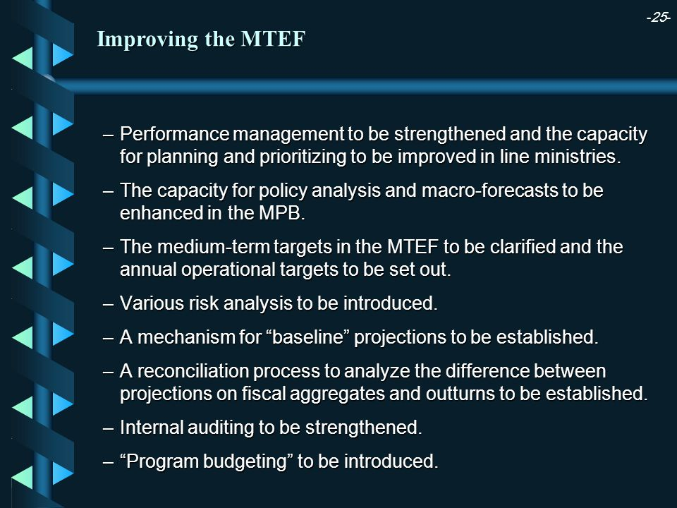 -25- Improving the MTEF –Performance management to be strengthened and the capacity for planning and prioritizing to be improved in line ministries.