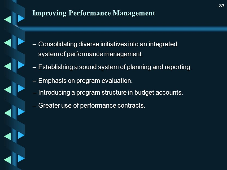 -29- –Consolidating diverse initiatives into an integrated system of performance management.
