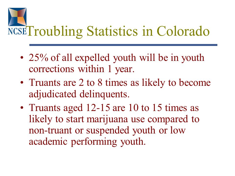 Troubling Statistics in Colorado 25% of all expelled youth will be in youth corrections within 1 year.