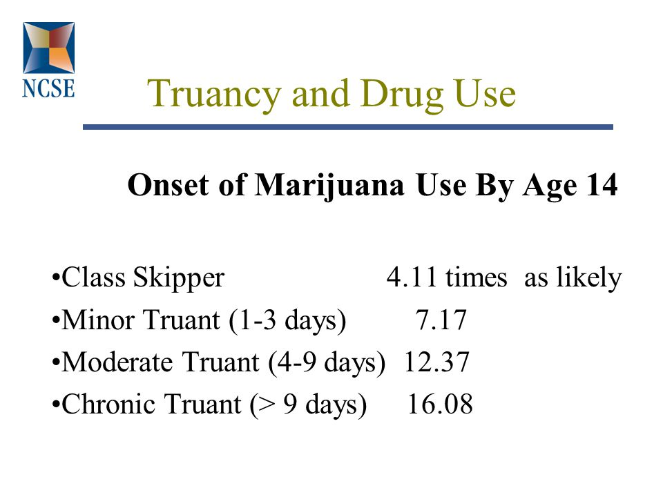 Truancy and Drug Use Onset of Marijuana Use By Age 14 Class Skipper 4.11 times as likely Minor Truant (1-3 days) 7.17 Moderate Truant (4-9 days) 12.37 Chronic Truant (> 9 days) 16.08
