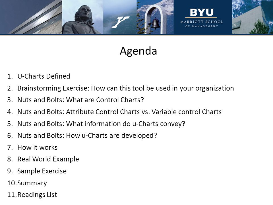 Agenda 1.U-Charts Defined 2.Brainstorming Exercise: How can this tool be used in your organization 3.Nuts and Bolts: What are Control Charts.