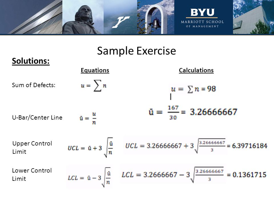 Sample Exercise Solutions: Sum of Defects: U-Bar/Center Line Upper Control Limit Lower Control Limit EquationsCalculations
