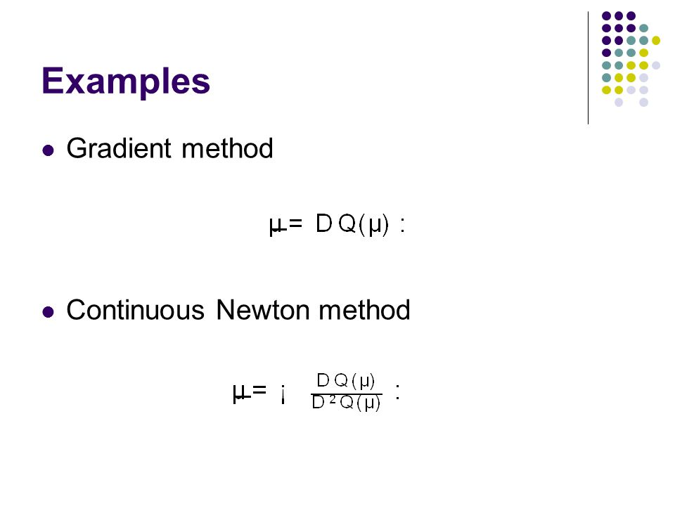Examples Gradient method Continuous Newton method