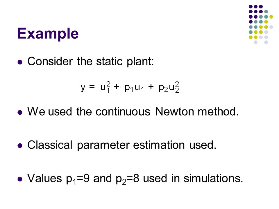 Example Consider the static plant: We used the continuous Newton method.