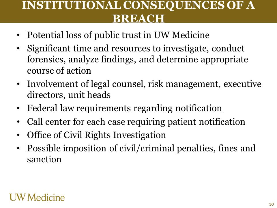 INSTITUTIONAL CONSEQUENCES OF A BREACH Potential loss of public trust in UW Medicine Significant time and resources to investigate, conduct forensics,