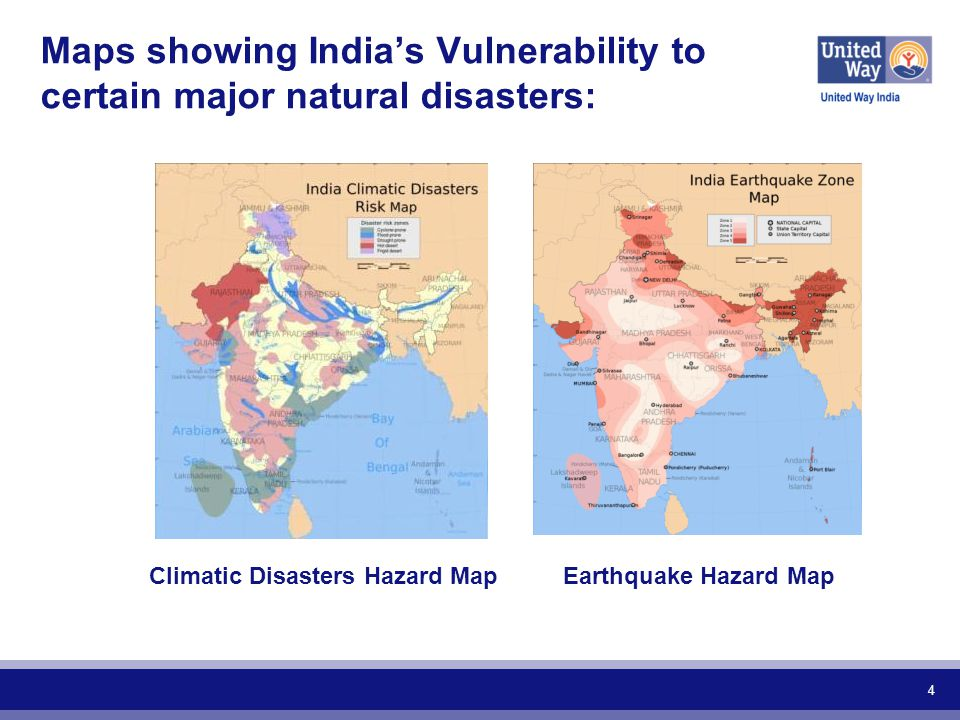 4 Maps showing India's Vulnerability to certain major natural disasters: Earthquake Hazard MapClimatic Disasters Hazard Map