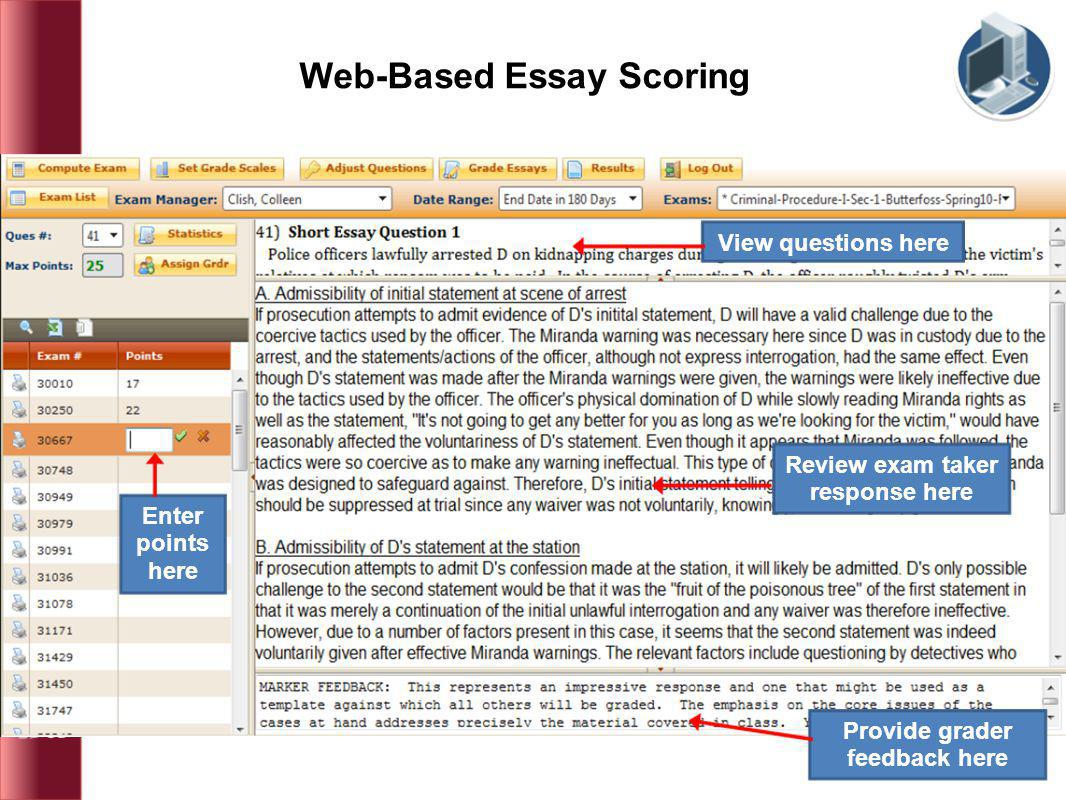 Web-Based Essay Scoring View questions here Review exam taker response here Provide grader feedback here Enter points here