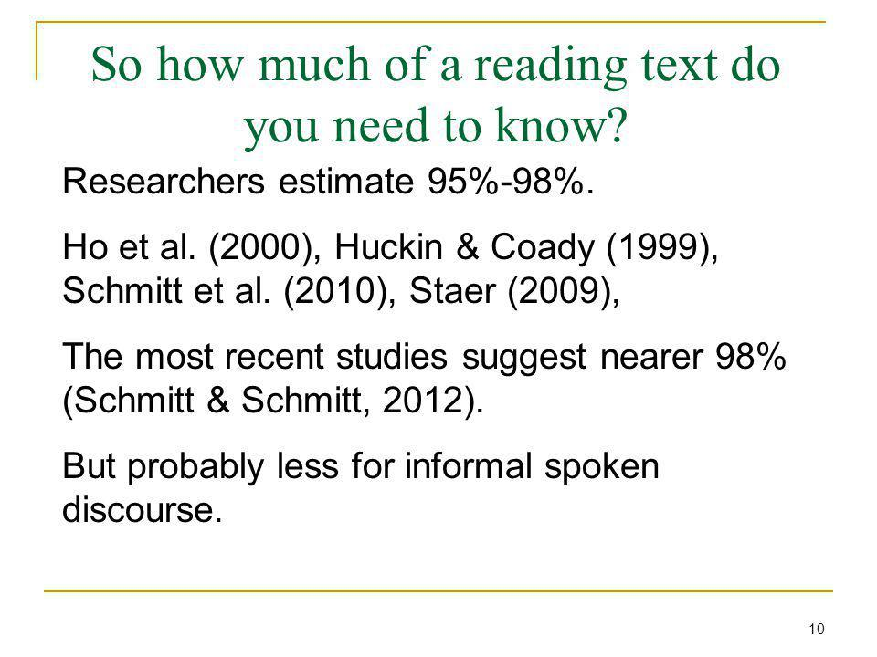 So how much of a reading text do you need to know? Researchers estimate 95%-98%. Ho et al. (2000), Huckin & Coady (1999), Schmitt et al. (2010), Staer