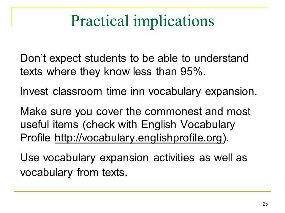 Practical implications Don't expect students to be able to understand texts where they know less than 95%.