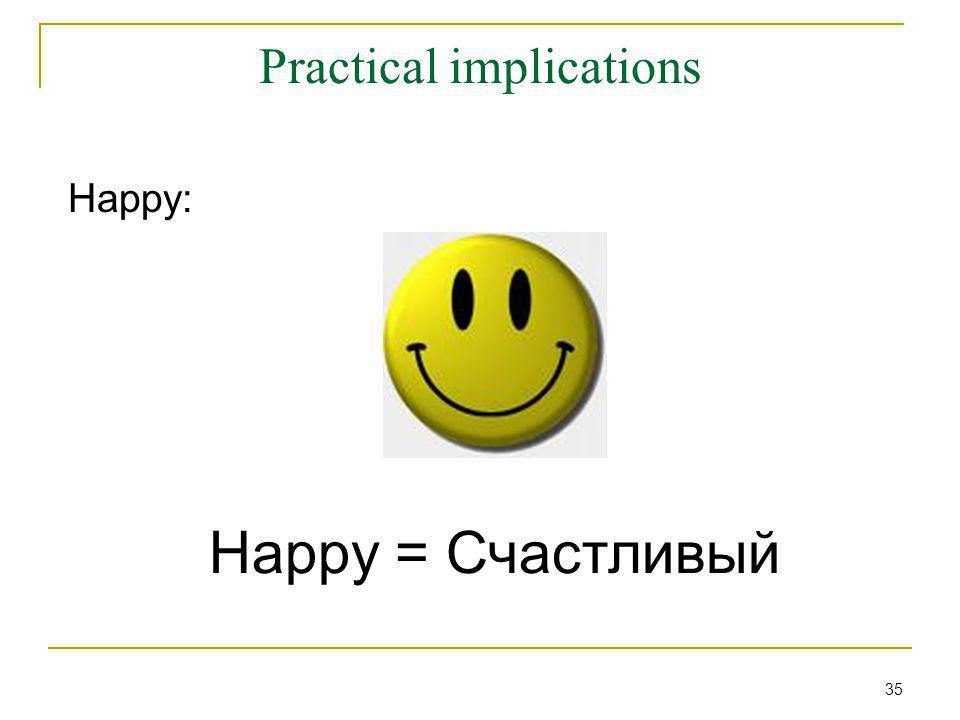 Practical implications Happy: Happy = Счастливый 35