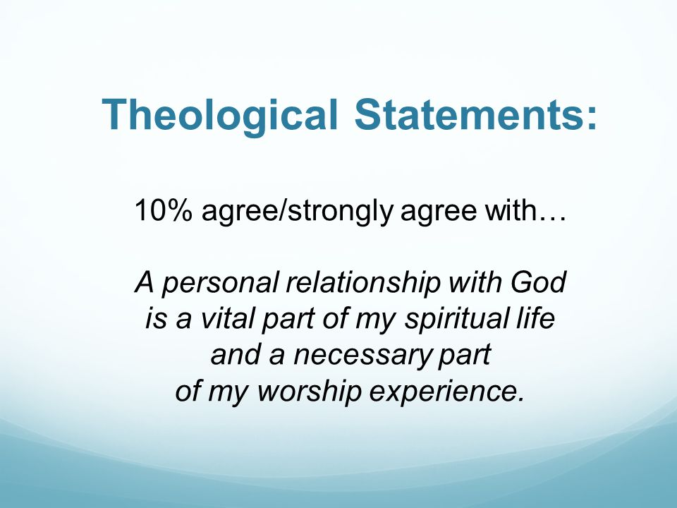 Theological Statements: 10% agree/strongly agree with… A personal relationship with God is a vital part of my spiritual life and a necessary part of my worship experience.