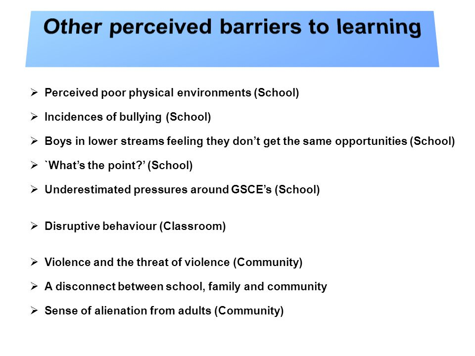  Perceived poor physical environments (School)  Incidences of bullying (School)  Boys in lower streams feeling they don't get the same opportunities (School)  `What's the point ' (School)  Underestimated pressures around GSCE's (School)  Disruptive behaviour (Classroom)  Violence and the threat of violence (Community)  A disconnect between school, family and community  Sense of alienation from adults (Community)