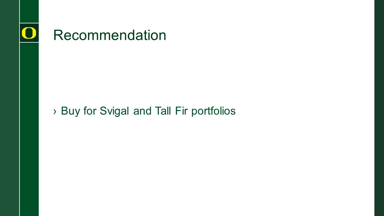 Recommendation ›Buy for Svigal and Tall Fir portfolios