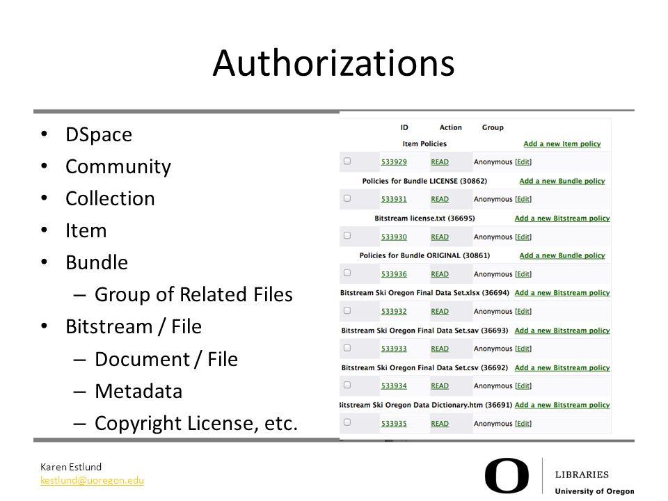 Karen Estlund kestlund@uoregon.edu Authorizations DSpace Community Collection Item Bundle – Group of Related Files Bitstream / File – Document / File – Metadata – Copyright License, etc.
