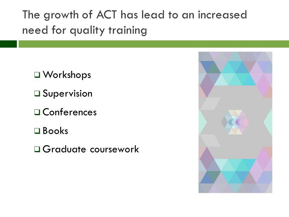 The growth of ACT has lead to an increased need for quality training  Workshops  Supervision  Conferences  Books  Graduate coursework