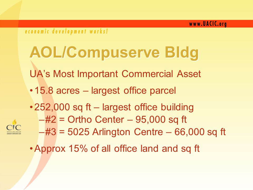 AOL/Compuserve Bldg UA's Most Important Commercial Asset 15.8 acres – largest office parcel 252,000 sq ft – largest office building –#2 = Ortho Center – 95,000 sq ft –#3 = 5025 Arlington Centre – 66,000 sq ft Approx 15% of all office land and sq ft