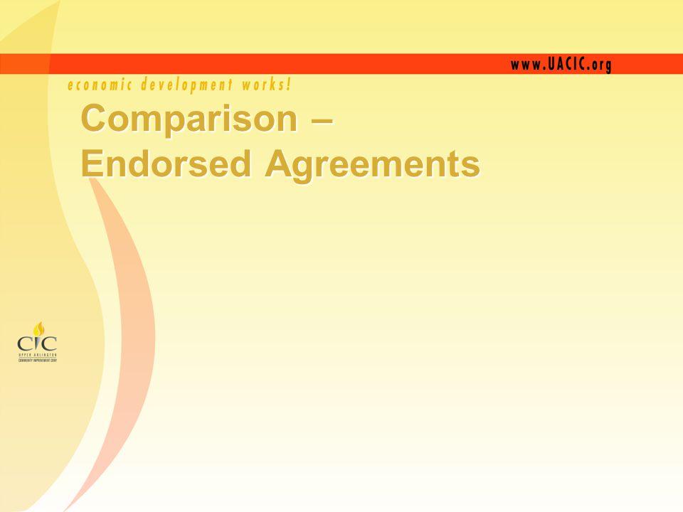 Comparison – Endorsed Agreements