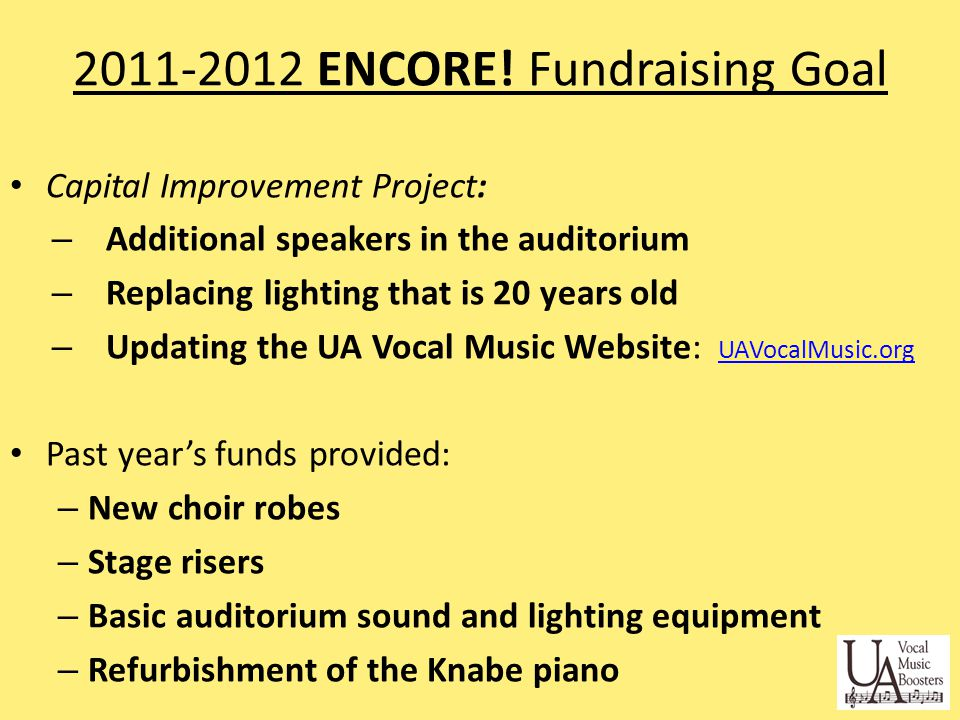 STUDENTS GOAL: - Get Sponsors and Ads - Familiarize yourself with ENCORE.
