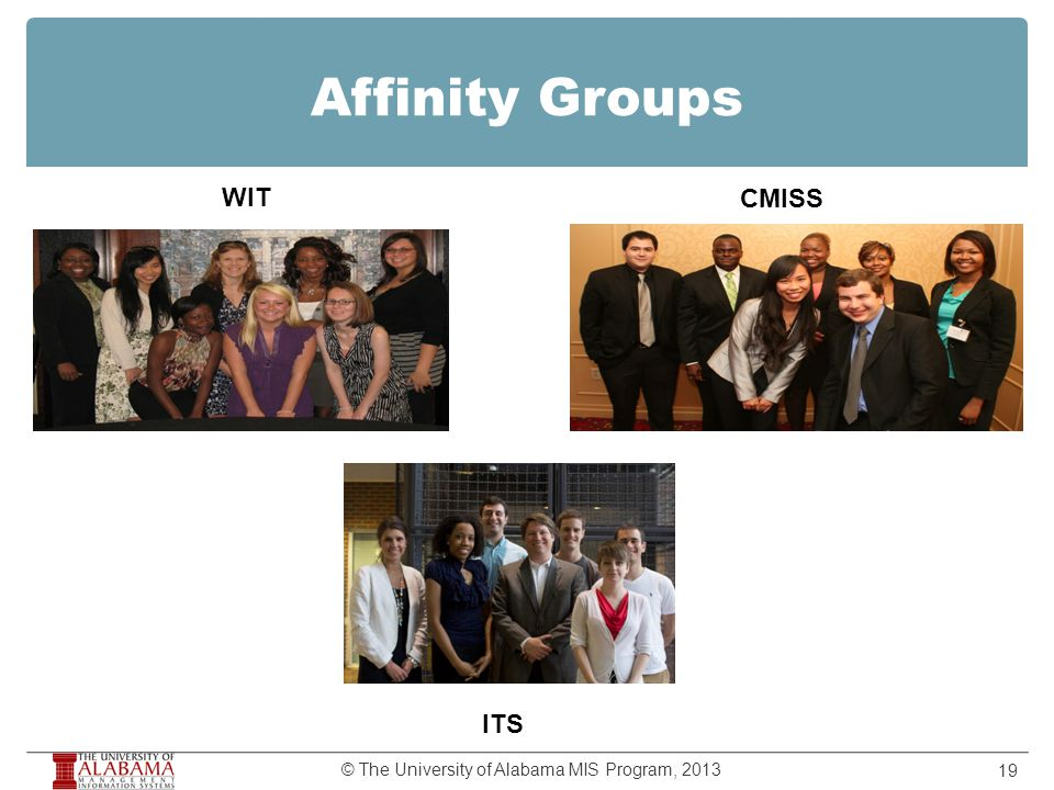Affinity Groups 19 © The University of Alabama MIS Program, 2013 WIT CMISS ITS