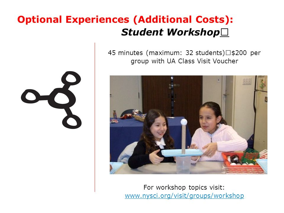 Optional Experiences (Additional Costs): Student Workshop 45 minutes (maximum: 32 students) $200 per group with UA Class Visit Voucher For workshop to