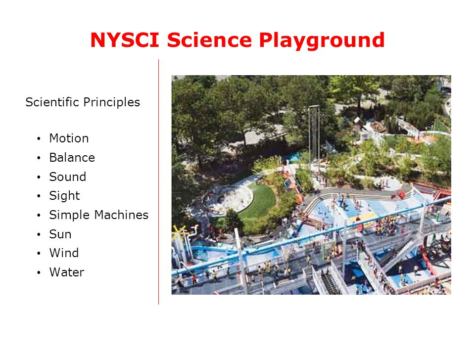 Scientific Principles Motion Balance Sound Sight Simple Machines Sun Wind Water NYSCI Science Playground