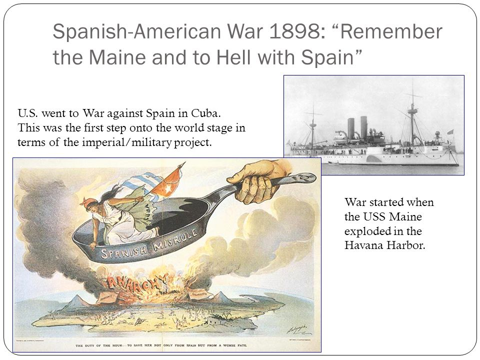 Spanish-American War 1898: Remember the Maine and to Hell with Spain U.S.
