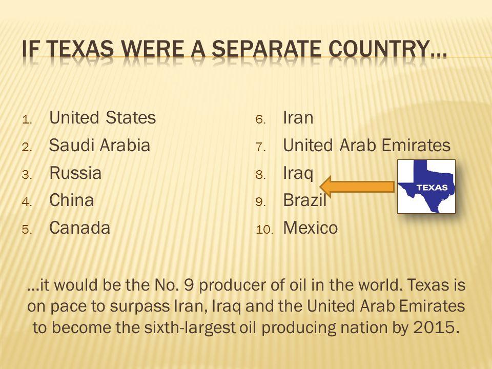 1. United States 2. Saudi Arabia 3. Russia 4. China 5. Canada 6. Iran 7. United Arab Emirates 8. Iraq 9. Brazil 10. Mexico …it would be the No. 9 prod