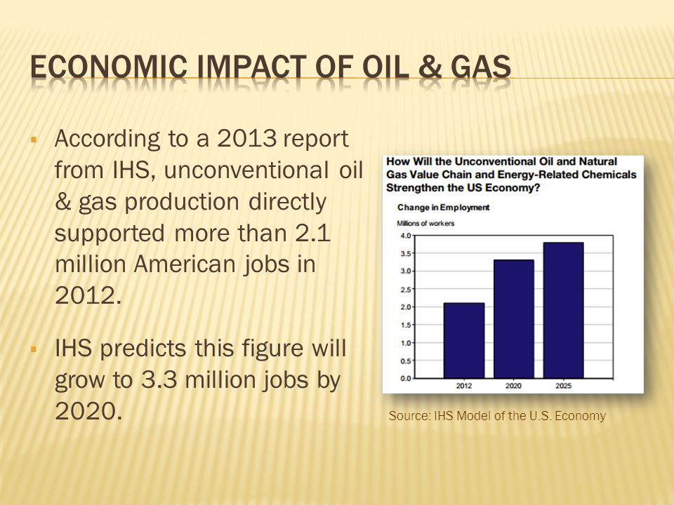  According to a 2013 report from IHS, unconventional oil & gas production directly supported more than 2.1 million American jobs in 2012.  IHS predi
