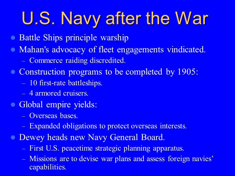 U.S. Navy after the War Battle Ships principle warship Mahan's advocacy of fleet engagements vindicated. – Commerce raiding discredited. Construction