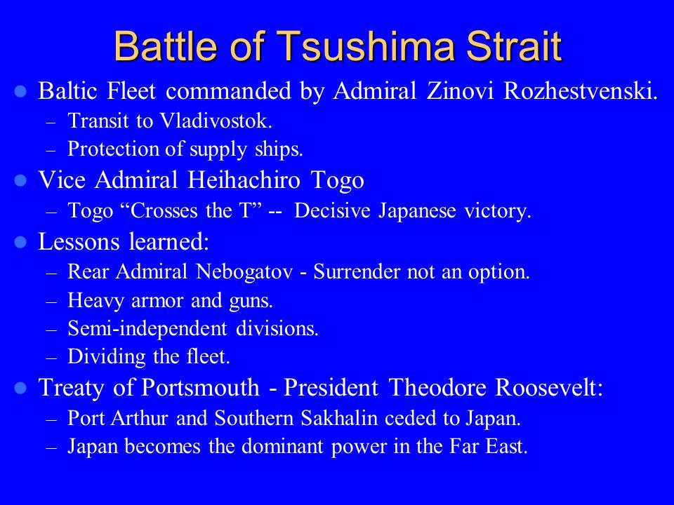 Battle of Tsushima Strait Baltic Fleet commanded by Admiral Zinovi Rozhestvenski. – Transit to Vladivostok. – Protection of supply ships. Vice Admiral