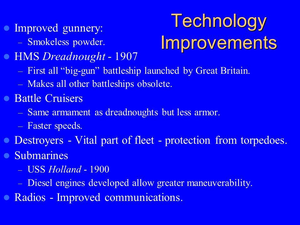 "Technology Improvements Improved gunnery: – Smokeless powder. HMS Dreadnought - 1907 – First all ""big-gun"" battleship launched by Great Britain. – Mak"