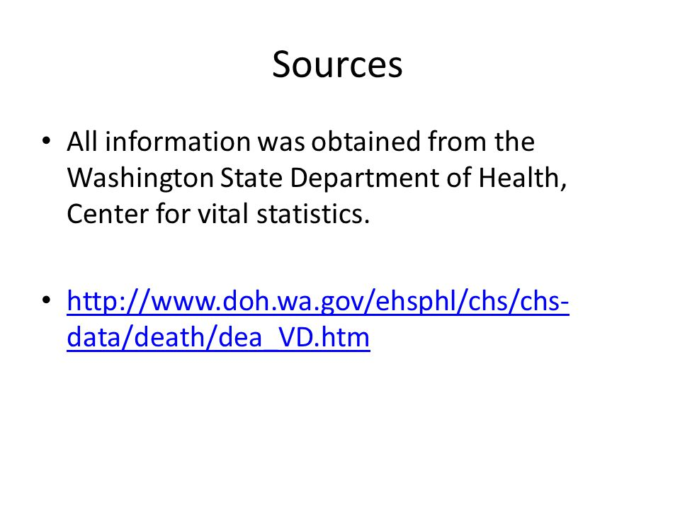 Sources All information was obtained from the Washington State Department of Health, Center for vital statistics.