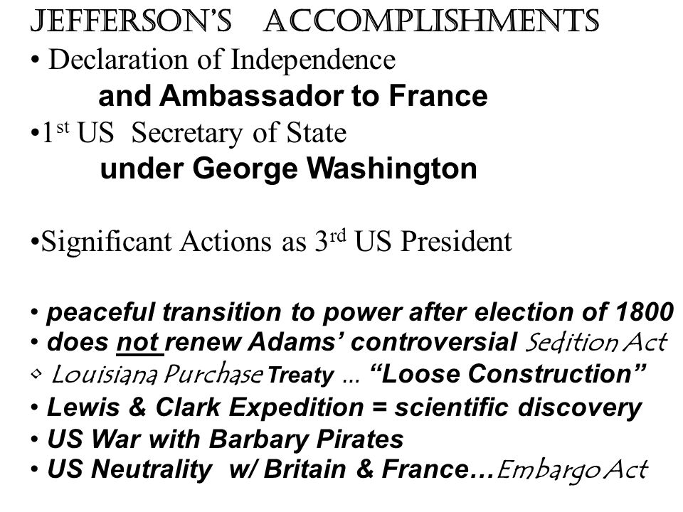 Jefferson's Accomplishments Declaration of Independence and Ambassador to France 1 st US Secretary of State under George Washington Significant Action